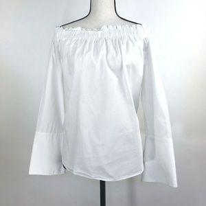 H&M White Off the Shoulder 100% Cotton Popover Top